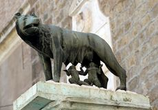 Campipdoglio Rome, the Capitoline Wolf with the twins Stock Images