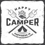 Campista feliz A felicidade é marshmallows brindados Ilustração do vetor Projeto da tipografia do vintage com barraca de acampame ilustração royalty free