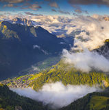 Campitello Di Fassa anf Folla Di Fassa villages in the morning m Stock Photography