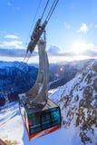 Campitello di Fassa ski resort in Val Gardena valley. Campitello di Fassa, Italy -  February 01, 2015: Col Rodella cable car on Campitello di Fassa  ski resort Stock Photo