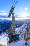 Campitello di Fassa skidar semesterorten i den Val Gardena dalen Arkivfoto