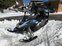 Campitello Matese - Mountain rescue snowmobile. Campitello Matese, San Massimo, Campobasso, Molise, Italy - March 8, 2018: Police snowmobile parked near the Stock Images