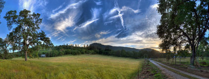 Campo, árvores, céu, estrada, montanha, Imagem de Stock Royalty Free