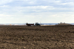 Campo agrícola del fertilizante Fotografía de archivo