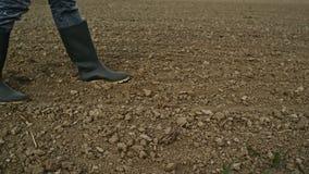 Campo agricolo, suolo del terreno arabile in primavera pronto per la stagione della semina video d archivio