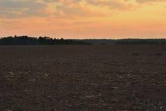 Campo arado en el amanecer Foto de archivo libre de regalías