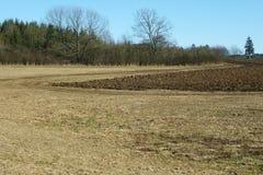 Campo arado en el otoño Foto de archivo