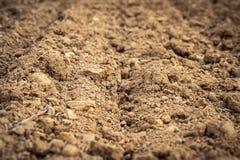 Campo arado, fondo ascendente del suelo, agrícola cercano Imagen de archivo libre de regalías