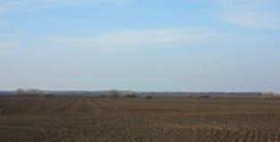 Campo arado na mola preparada semeando Céu azul e floresta fotos de stock
