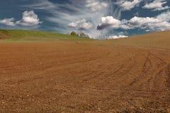 campo arato coltivato al crepuscolo sotto il cielo nuvoloso Fotografie Stock Libere da Diritti