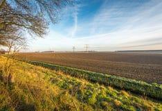 Campo arato in un paesaggio olandese variopinto Fotografia Stock Libera da Diritti