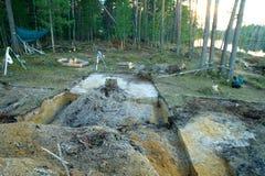 Campo archeologico nella regione di Altai di scavi fabbricati Fotografia Stock