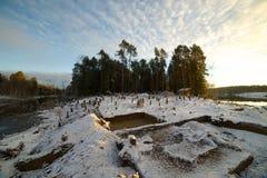 Campo archeologico nella regione di Altai di scavi fabbricati Immagine Stock Libera da Diritti