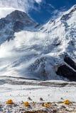 Campo base della spedizione della montagna di elevata altitudine Immagine Stock Libera da Diritti