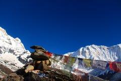 Campo base Nepal di Annapurna Immagini Stock Libere da Diritti