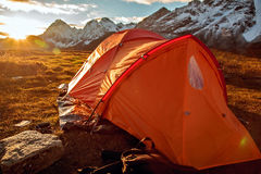 Campo base sotto il Mt MaKaLu nel Tibet Immagine Stock Libera da Diritti