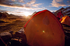 Campo base sotto il Mt MaKaLu nel Tibet Fotografia Stock Libera da Diritti