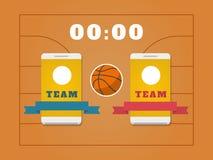 Campo, bola, placar e smartphone do basquetebol com equipes Foto de Stock Royalty Free