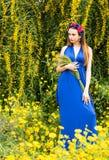 Campo bonito novo atrativo da mulher na primavera imagens de stock royalty free