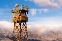 Campo California di Tower Manzanar Internment della vecchia guardia Fotografie Stock Libere da Diritti