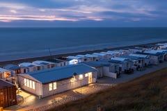 Campo caravan alla spiaggia Fotografia Stock