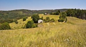 Campo cerca de la colina de Filipka en las montañas de Slezske Beskydy Imagen de archivo
