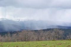 Campo coberto de neve no fundo de montanhas altas do inverno S fotografia de stock royalty free