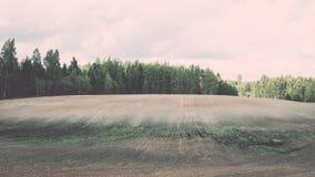 campo coltivato fresco in autunno - effetto d'annata Fotografia Stock