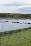 Campo com energia alternativa das células solares azuis do siliciom Foto de Stock