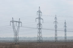 Campo com energia elétrica Foto de Stock Royalty Free