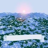 Campo com flores azuis Imagem de Stock