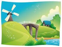 Campo com moinho de vento.