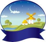 Campo com moinho de vento Fotos de Stock Royalty Free