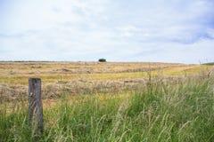 Campo com um campo e uma cerca imagens de stock