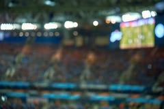 Campo completo do estádio de futebol do futebol com luzes Foco macio fundo borrado imagens de stock royalty free