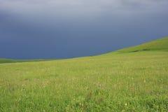Campo con cielo blu Immagine Stock