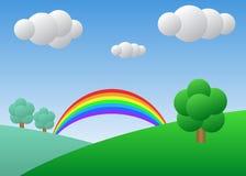Campo con el árbol y el arco iris Día asoleado con el cielo azul stock de ilustración