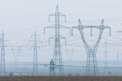 Campo con energía eléctrica Foto de archivo libre de regalías