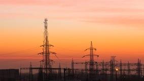 Campo con energia elettrica Fotografia Stock