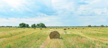 Campo con haystakcs en tiempo soleado imagenes de archivo