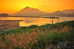 Campo con la hierba contra el cielo de la puesta del sol Fotos de archivo libres de regalías