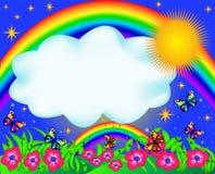 Campo con la mariposa y el arco iris del color stock de ilustración