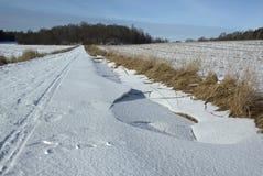 Campo con nieve Imágenes de archivo libres de regalías