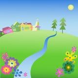 Campo con un río Imagen de archivo libre de regalías