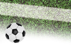 Campo da calcio e la palla Fotografia Stock