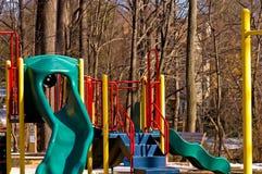 Campo da gioco per bambini in inverno Fotografie Stock