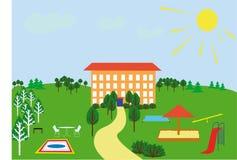 Campo da gioco per bambini vicino alla casa Fotografie Stock Libere da Diritti