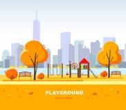 Campo da giuoco del ` s dei bambini sul paesaggio di autunno nel parco della città Illustrazione di vettore illustrazione vettoriale