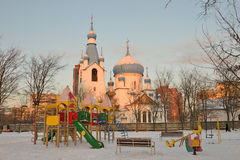 Campo da giuoco del ` s dei bambini vicino alla chiesa della natività Fotografia Stock Libera da Diritti