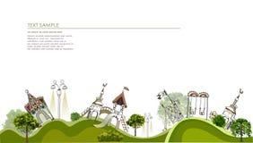 Campo da giuoco, illustrazione della città del gioco dei bambini Immagini Stock